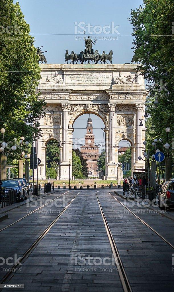 Arco della Pace with Sforza Castle in background - Milan stock photo