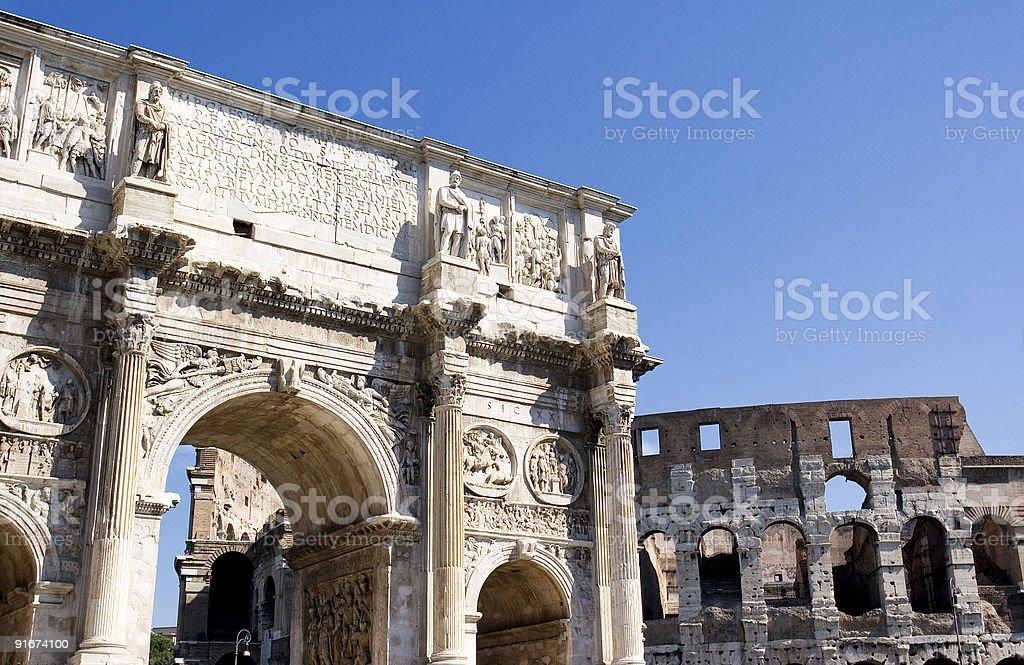Arco di Costantino e Colosseo royalty-free stock photo