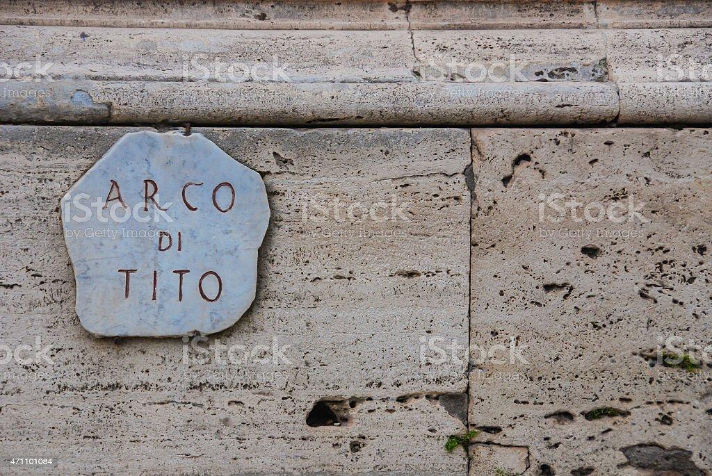 Arco Di Tito Plaque stock photo