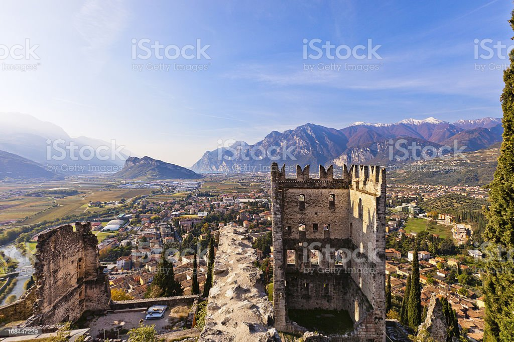 Arco seen from the castle stock photo