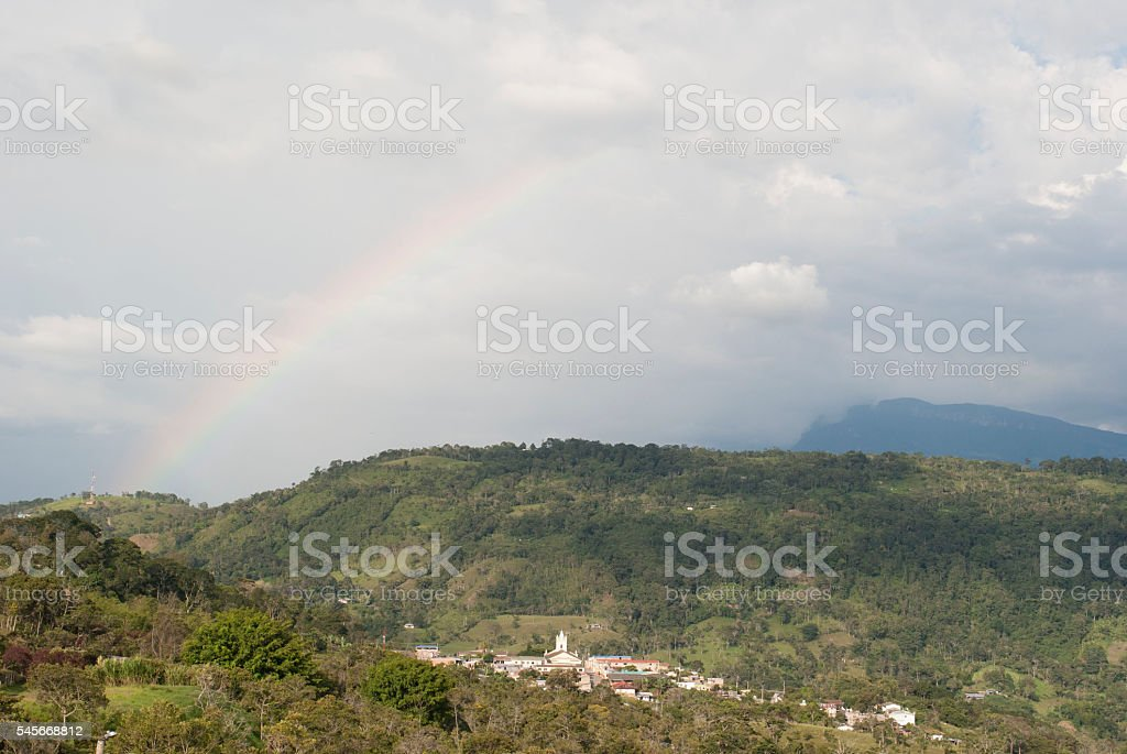 Arcoiris Rainbow San Juan De Rio Seco Clouds Mountains Cundinamarca stock photo