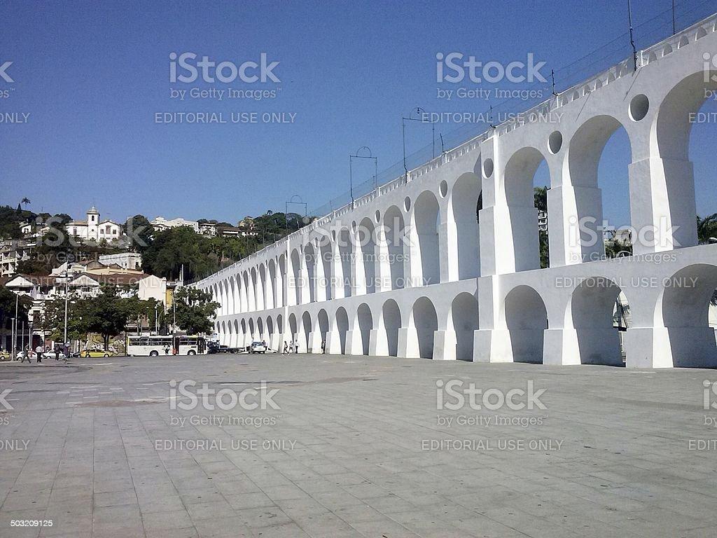 Arcos da Lapa, ancient aqueduct, Rio de Janeiro stock photo