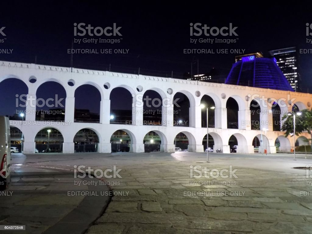 Arcos da Lapa aqueduct before today railway bridge stock photo