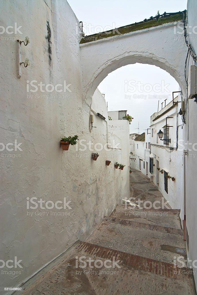 Arcos de la Frontera Alley, Spain stock photo