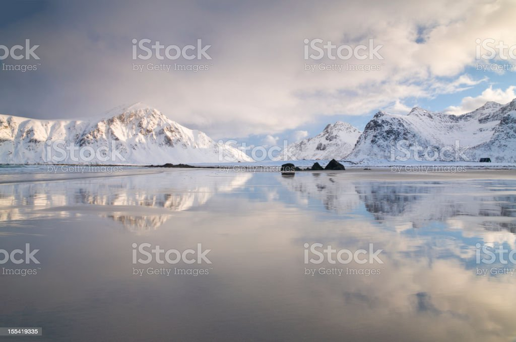 Arctic Beach in the Lofoten Islands royalty-free stock photo
