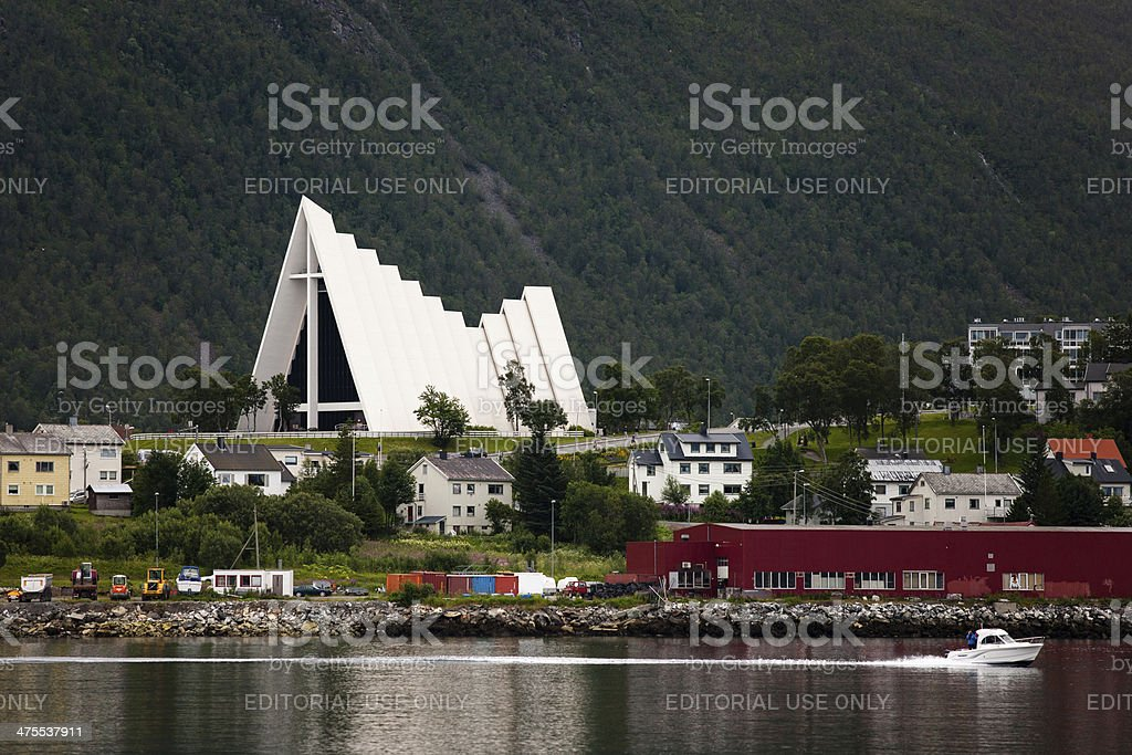 Arctic Cathedral in Tromso stock photo