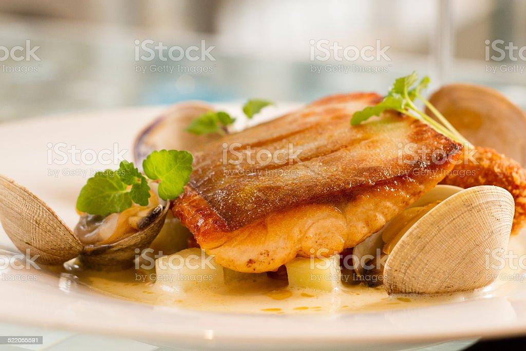 Arctic char main dish stock photo