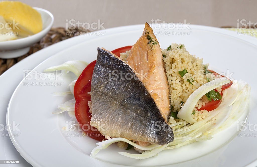 Arctic Char on Couscous and Fennel stock photo