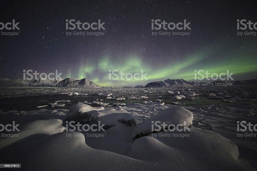 Arctic climate, Northern Lights, Aurora Borealis stock photo