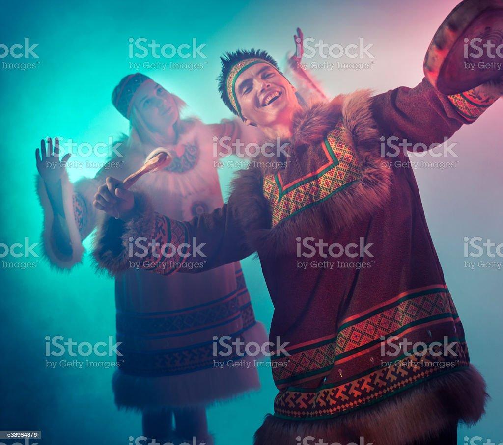 Arctic Couple Dancing stock photo
