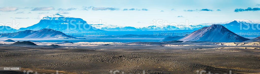 Arctic deserts glaciers and mountain peaks panorama Highlands Iceland stock photo