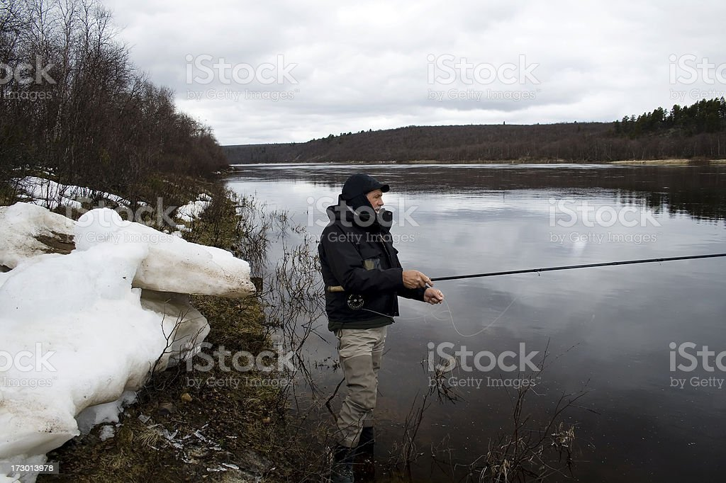 Arctic fishing royalty-free stock photo