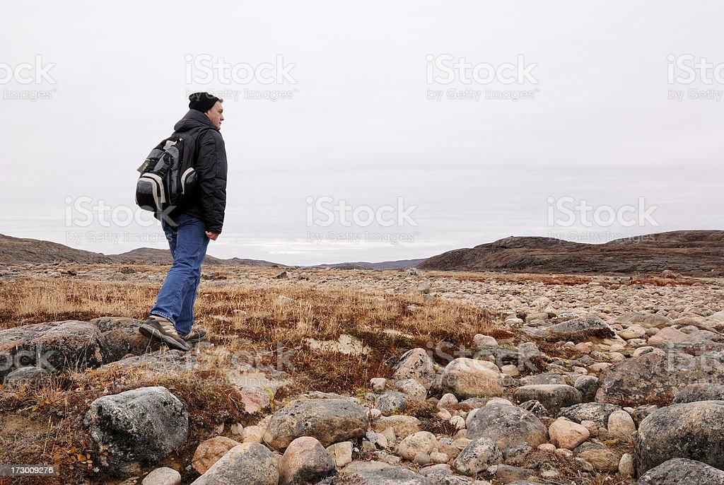 Arctic Hiker, Baffin Island. stock photo
