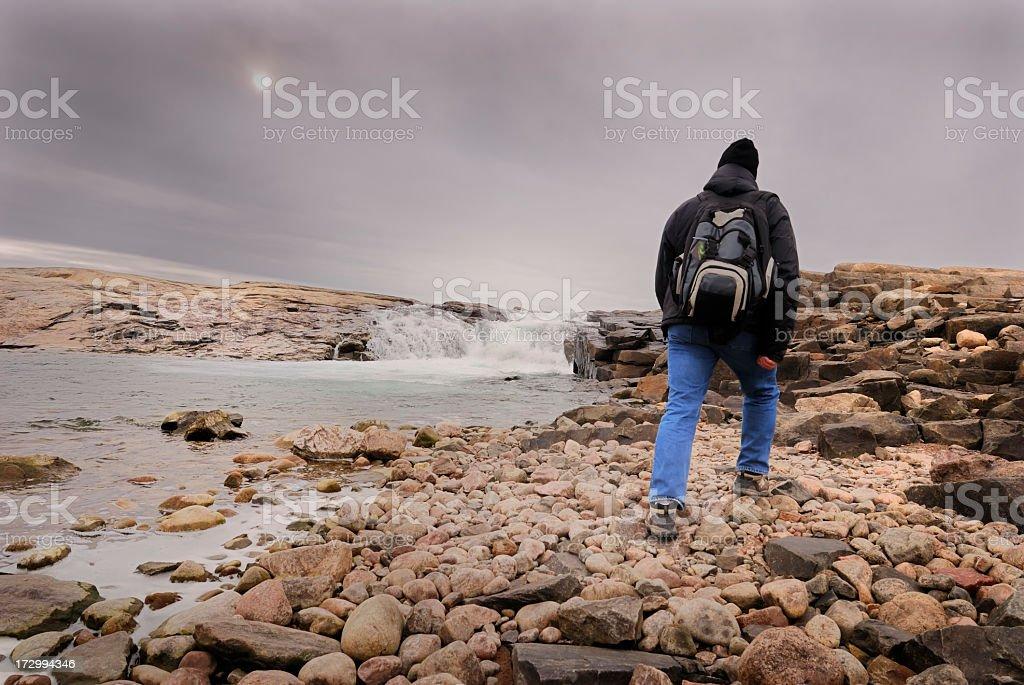 Arctic Hiking, Baffin Island. stock photo