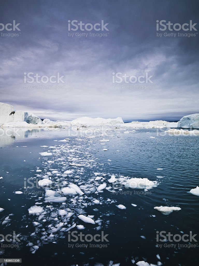 Arctic Ice and Icebergs in Ocean North Pole Region Greenland stock photo