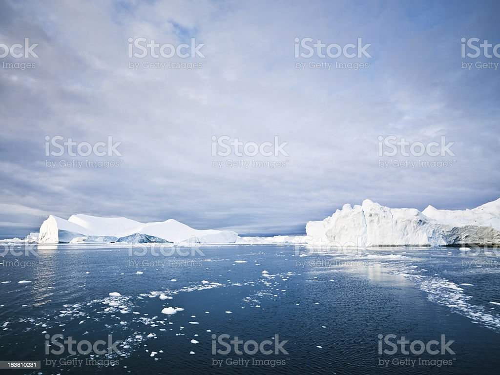 Arctic Icebergs and Ice Floes Ilulissat Fjord North Pole Seascape stock photo
