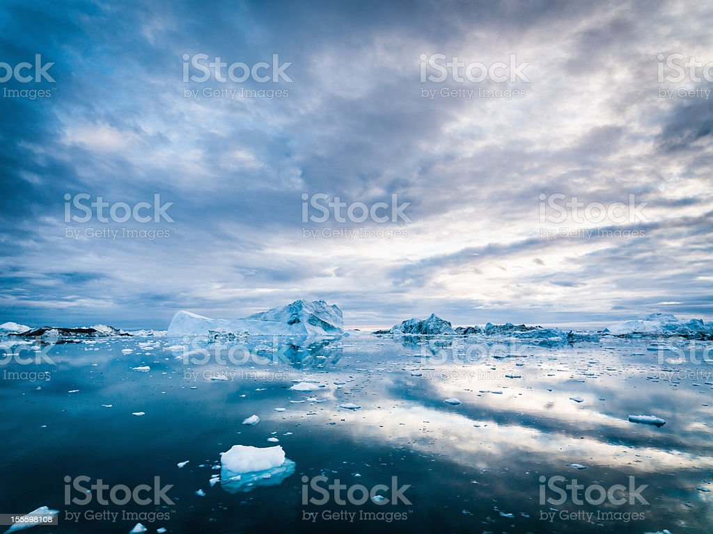 Arctic Icebergs Greenland Ilulissat Ice Fjord Morning Sunrise stock photo