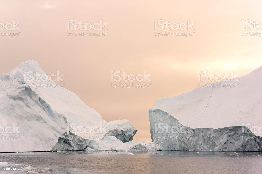 Arctic Icebergs Greenland in the arctic sea. stock photo