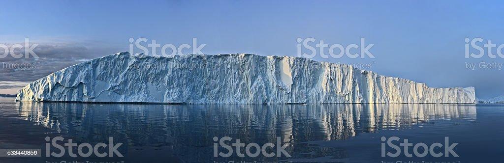 Arctic Icebergs panoramic image in the Greenland arctic sea. stock photo