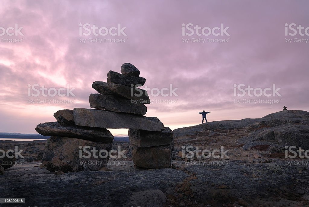 Arctic Inukshuk, Baffin Island. royalty-free stock photo