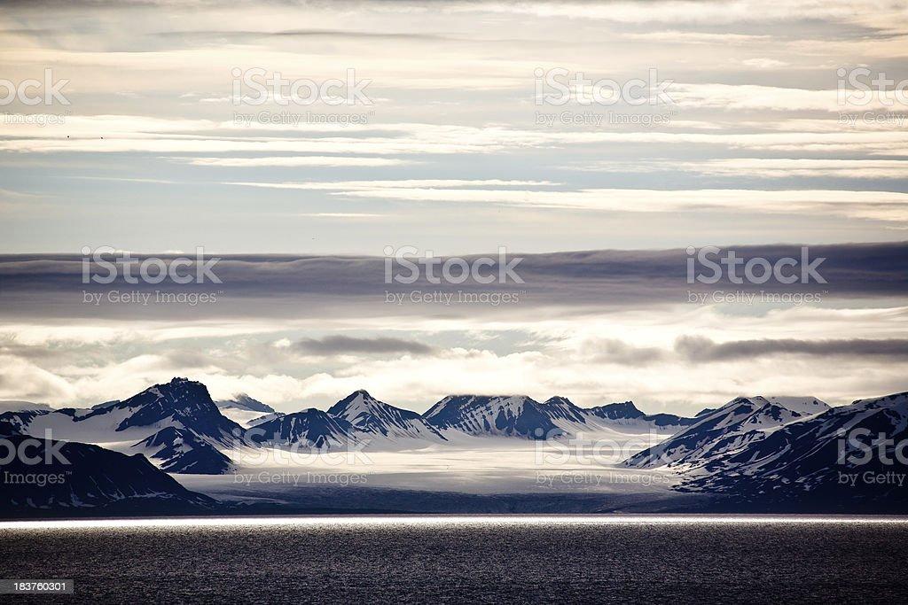 Arctic landscape in Spitzbergen Isfjord stock photo