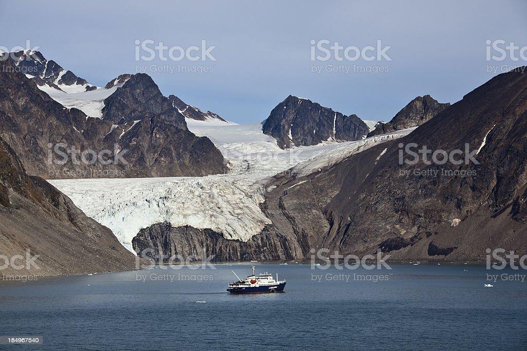 Arctic landscape in Spitzbergen Krossfjord Tinayrebukta stock photo