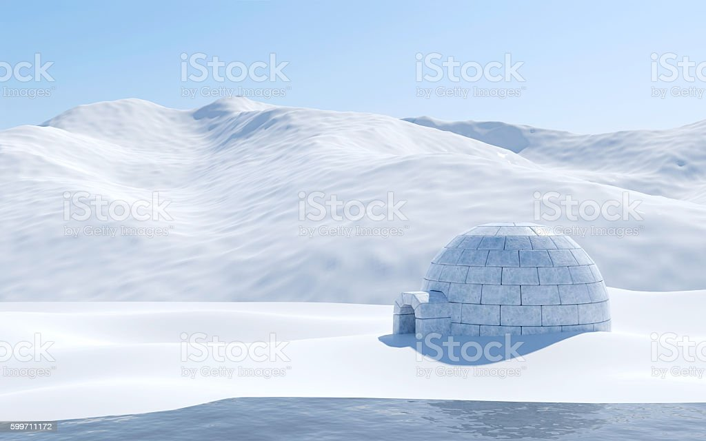 Arctic landscape scene with snowfield and igloo stock photo