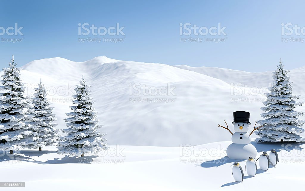 Arctic landscape, snow field with snowman and penguins in Christmas stock photo