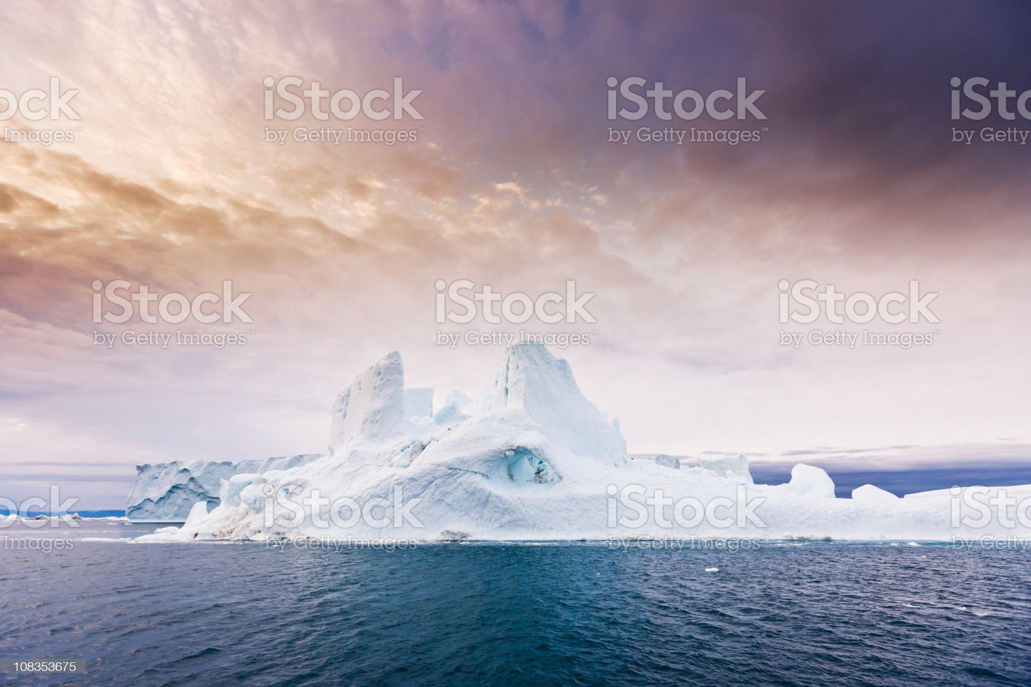 Arctic Moody Sunrise Iceberg North West Greenland royalty-free stock photo