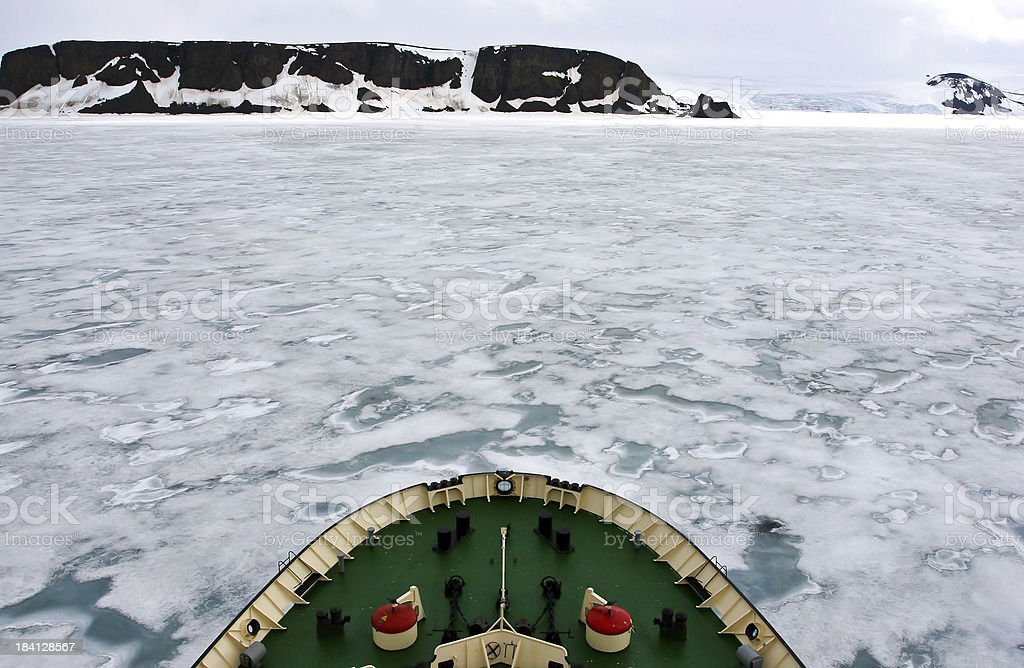 Arctic ocean with pack ice in front of an icebreaker stock photo