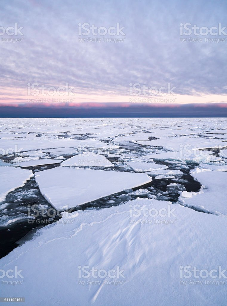 Arctic Pack Ice Sunset stock photo