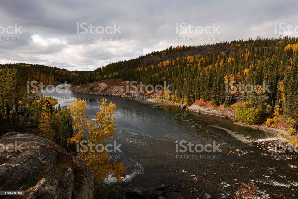 Arctic River near Yellowknife, Northwest Territories. stock photo