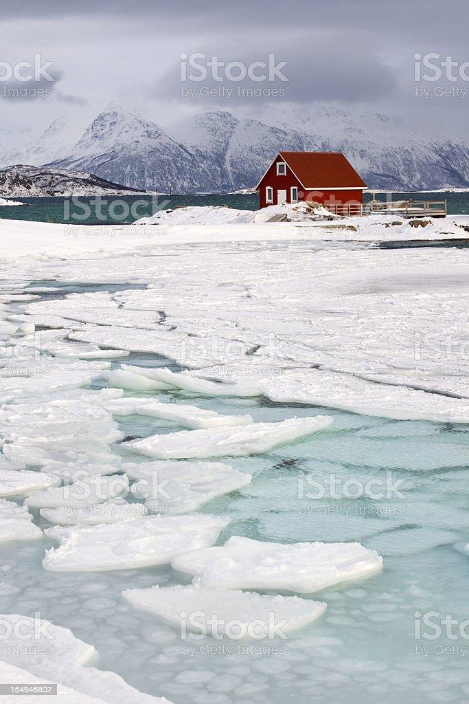 Arctic Rorbu in Norwegian Lapland royalty-free stock photo