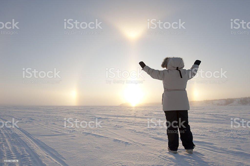 Arctic Sundog or Parhelion stock photo