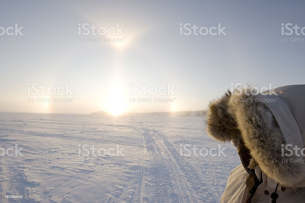 Arctic Sundogs or Parhelion in Canada's Arctic. royalty-free stock photo
