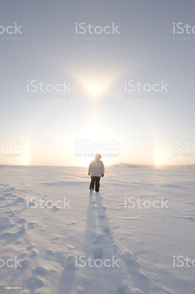 Arctic Sundogs or Parhelion stock photo