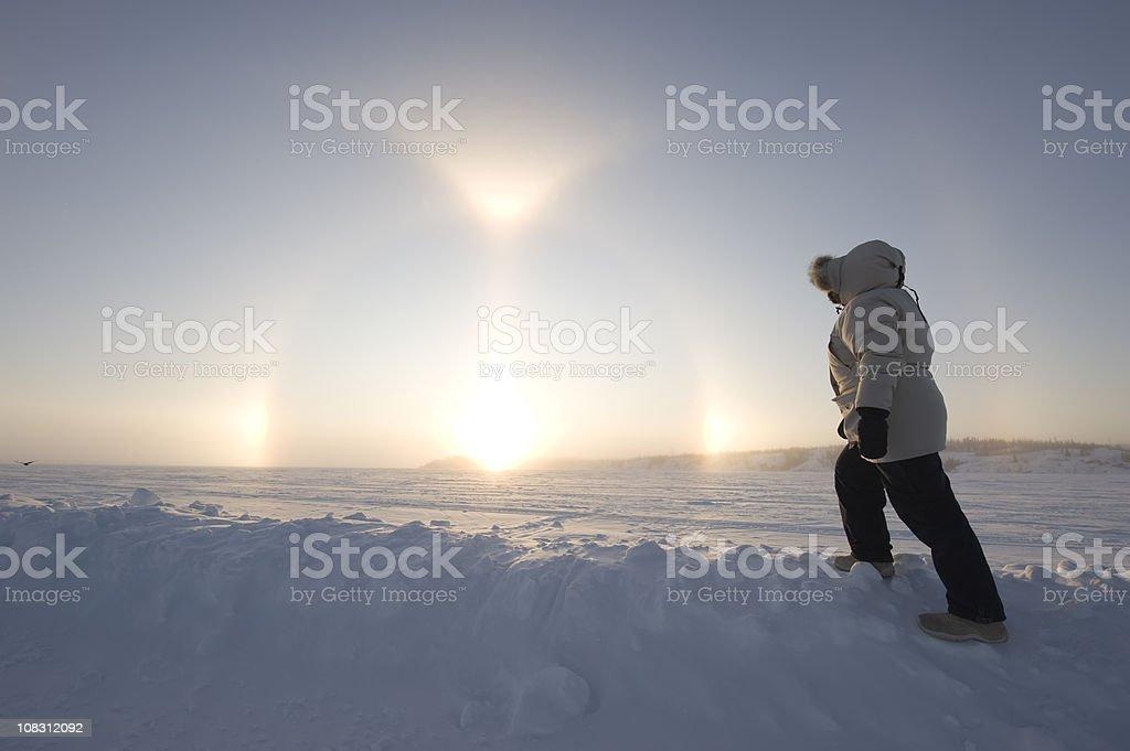 Arctic Sundogs or Parhelion. stock photo