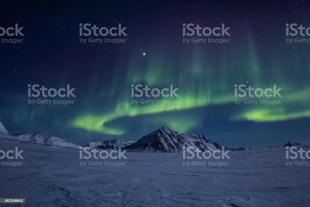 Arctic winter in south Spitsbergen stock photo