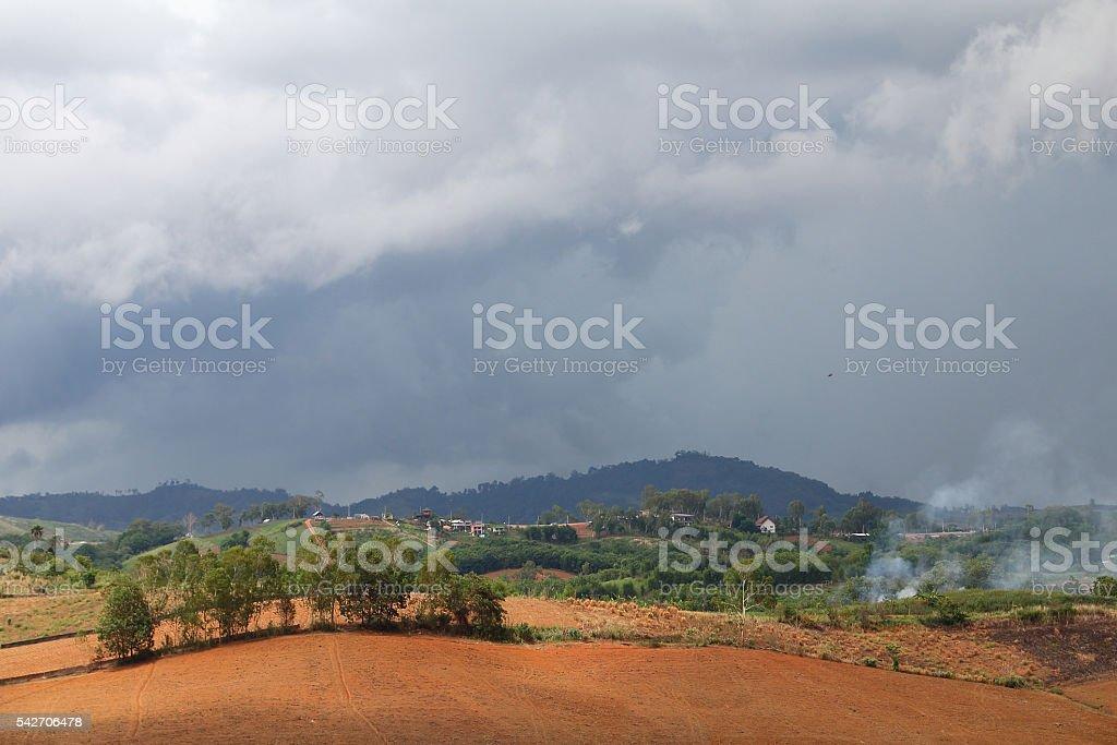 arcus cloud (shelf cloud) stock photo