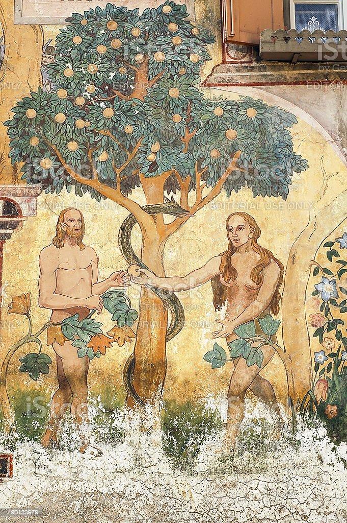 Ardez (Engadine): Adam and Eve stock photo
