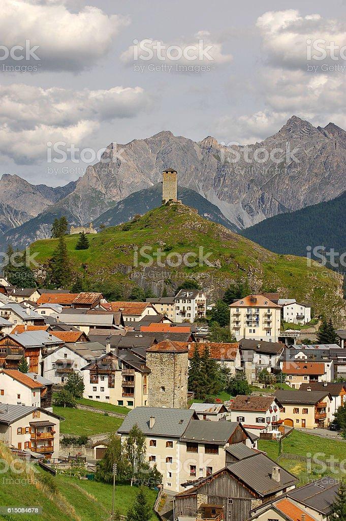 Ardez small Village in Engadine Switzerland stock photo