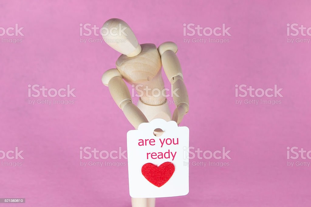 are you ready writing red heart card stock photo
