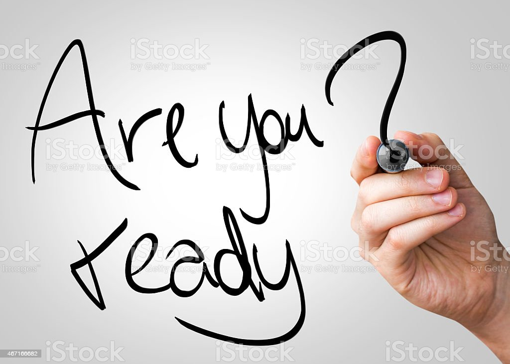 Are You Ready written on the Wipe board stock photo