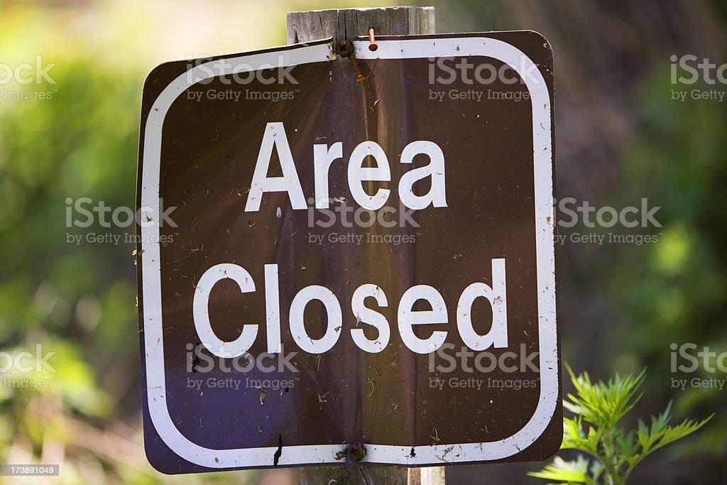 Area Closed Sign stock photo