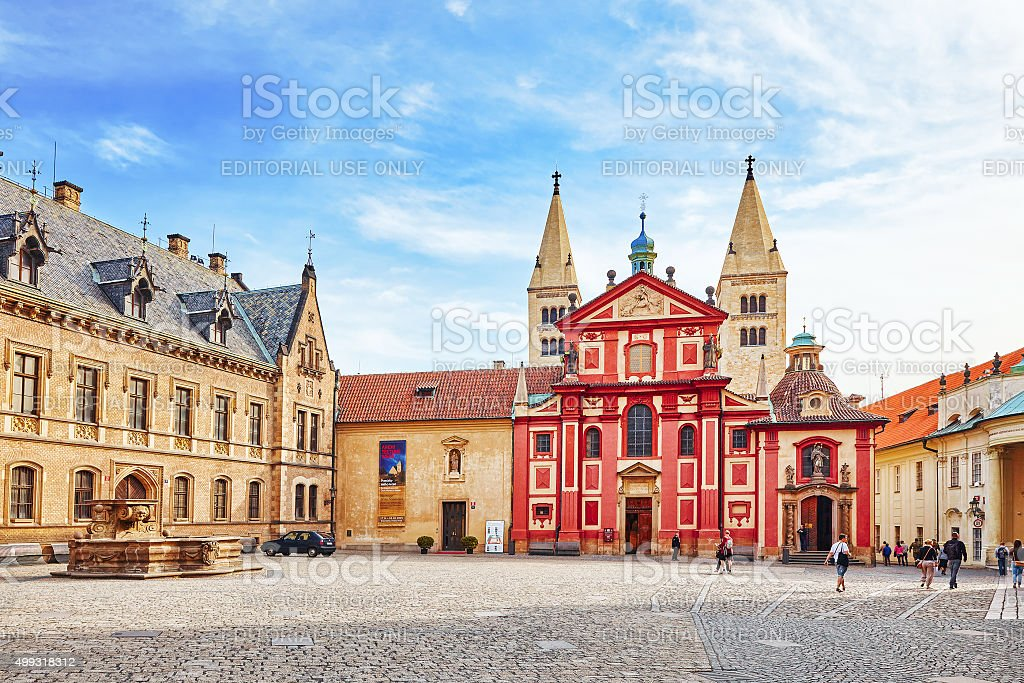 Area near Cathedral of Saints Vitus in Prague. stock photo