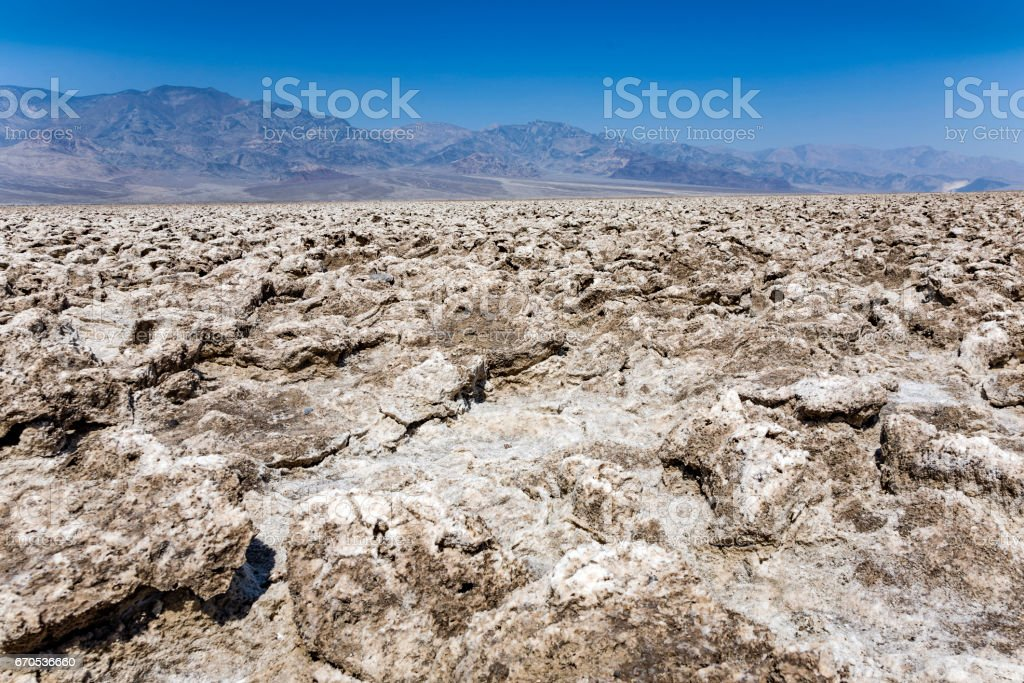area of salt plates in the middle of death valley, called Devil's Golfe Course stock photo