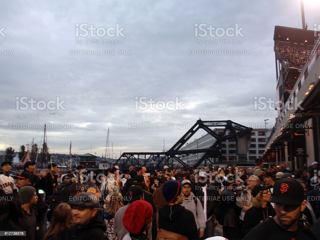 Area outside Ballpark filled with people stock photo