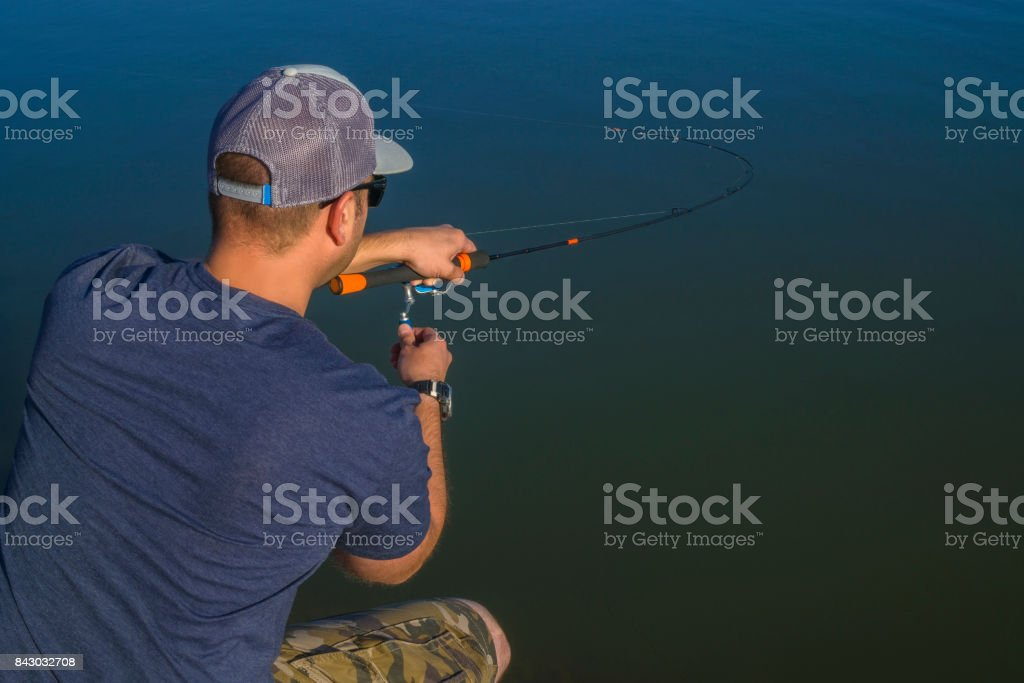 Area trout fishing. Fisherman with spinning rod in action playing fish. View from back stock photo