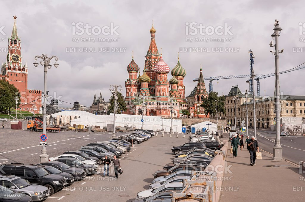 Area Vasilevsky descent. By area, moving the pedestrians and car stock photo