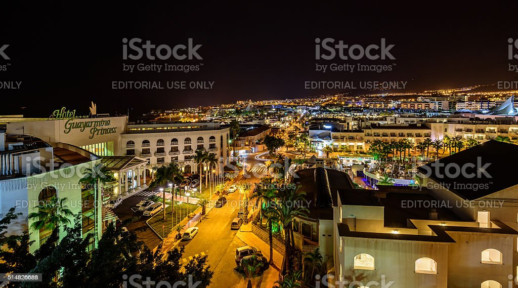 Areal night view on city of Adeje at Tenerife island stock photo